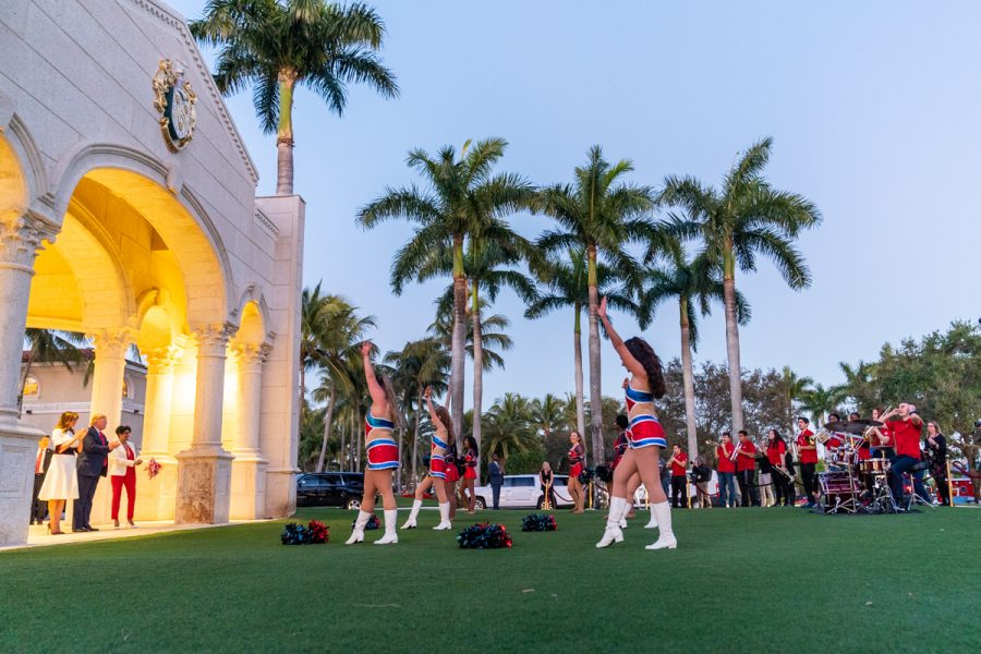 President Donald J. Trump and First Lady Melania Trump watch the FAU marching band Sunday evening, Feb. 2, 2020, outside the Trump International Golf Club in West Palm Beach, prior to attending a Super Bowl party. Photo courtesy of White House/ Shealah Craighead.