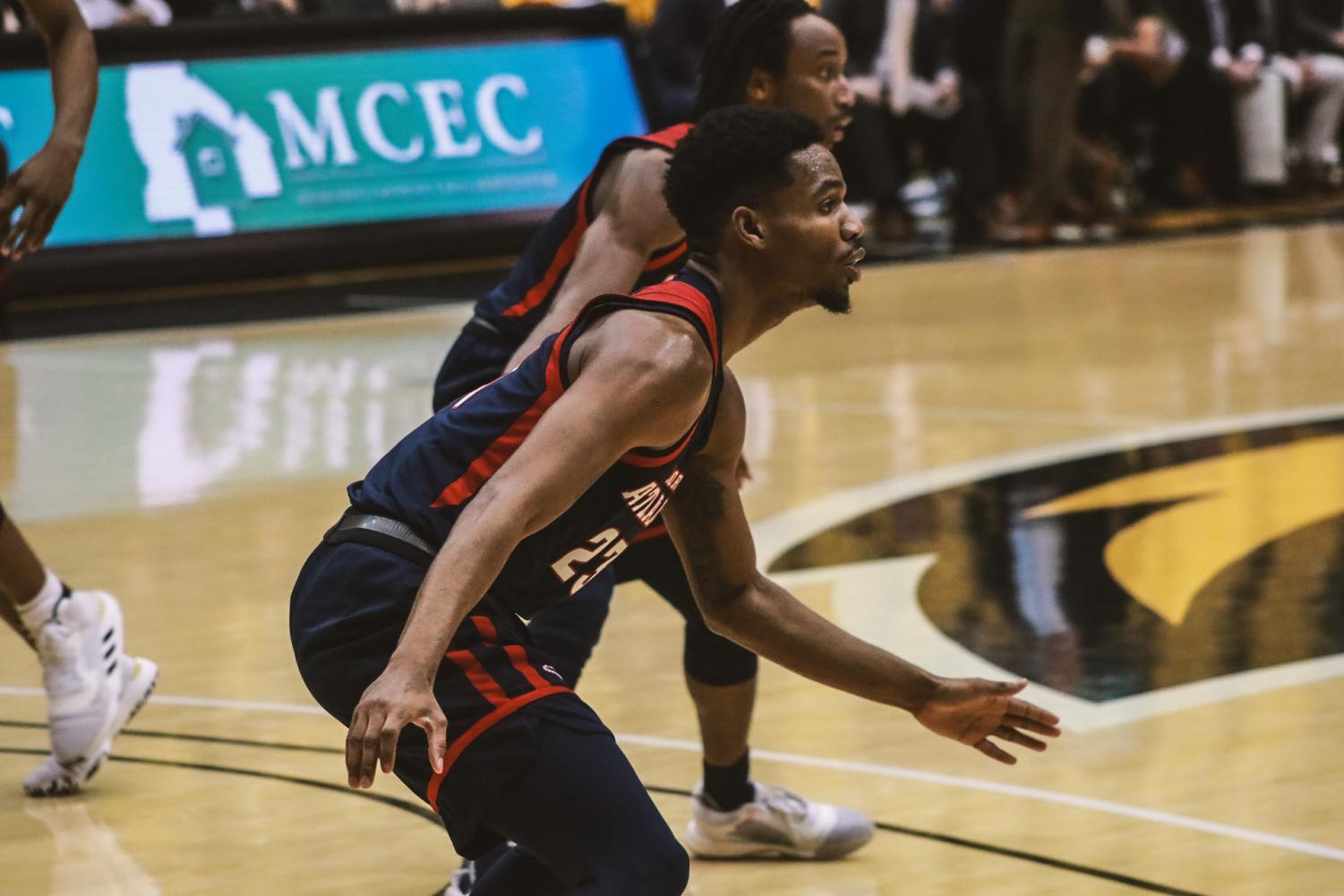 Guard Richardson Maitre scored six points and had five assists in the loss against Southern Miss. Photo courtesy of USM Athletics.