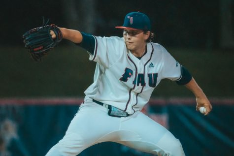 Pitcher Marc DeGusipe made his first collegiate start and pitched 2.1 innings, striking out three batters, but did have three earned runs. Photo by: Alex Liscio.