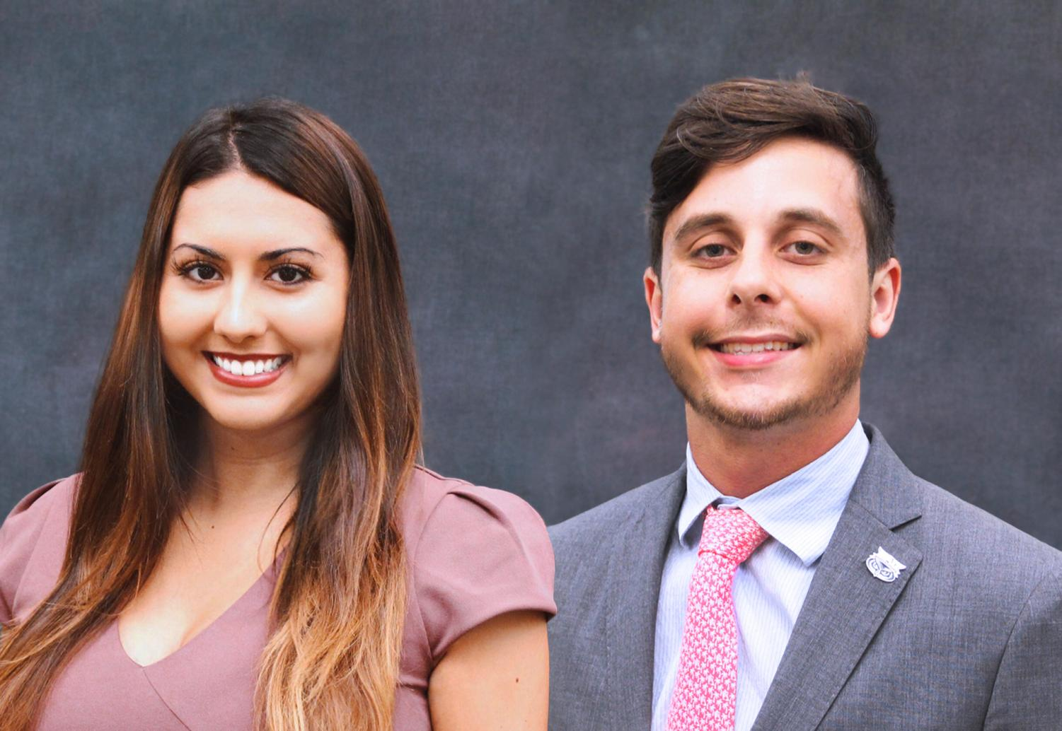 Student body Vice President Celine Persaud and President Kevin Buchanan.