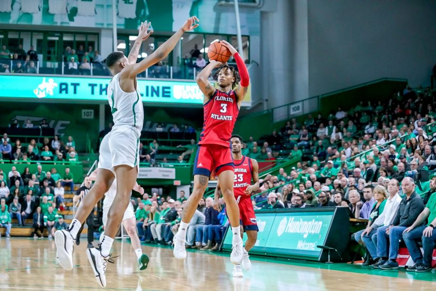 Owls+forward+Jaylen+Sebree+scored+three+points%2C+collected+three+rebounds+and+had+two+steals+in+the+loss+to+Marshall.+Photo+courtesy+of+Marshall+Athletics.+