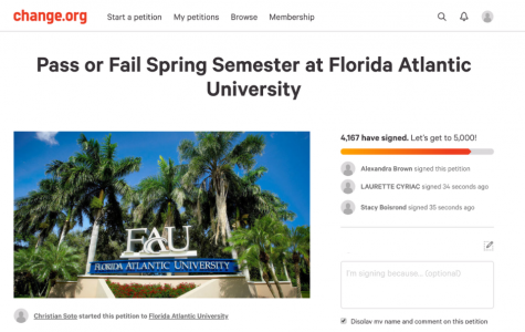 Screenshot of a petition calling for FAU to make all classes pass/fail for the rest of the semester.