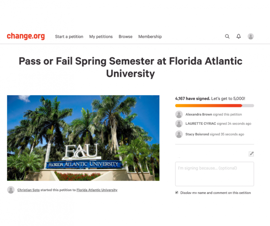 Screenshot+of+a+petition+calling+for+FAU+to+make+all+classes+pass%2Ffail+for+the+rest+of+the+semester.