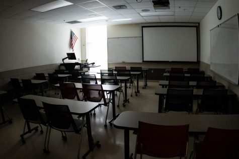 A classroom in the Culture and Society building.