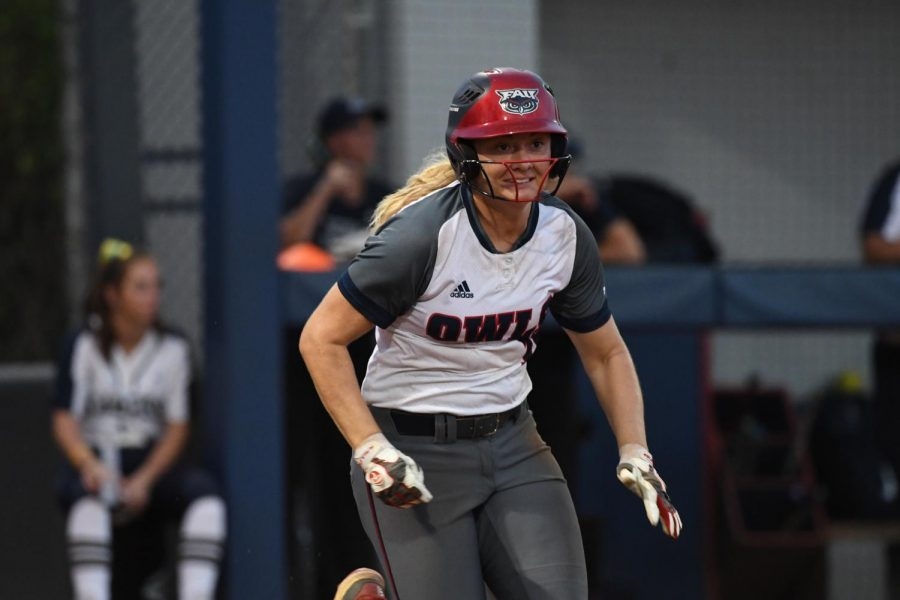 Through 12 games, redshirt junior outfielder Fayth Davis hit one home run, drove in six batters while hitting a .282 average. Photo courtesy of FAU Athletics.