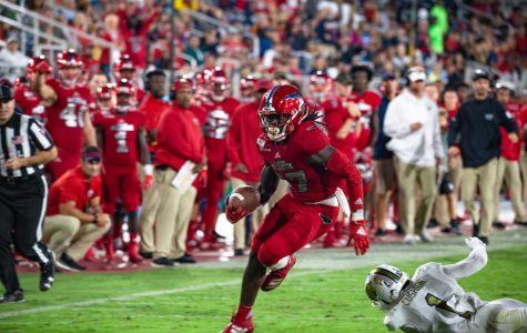 FAU receiver Deangelo Antoine showed his explosiveness all season including a game where he scored four touchdowns, the most in program history. Photo by Alex Liscio.