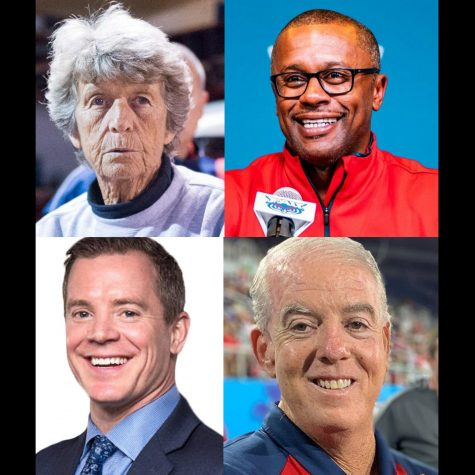 (L-R) Top: Joan Joyce, photo courtesy Max Jackson. Willie Taggart, photo courtesy Alex Liscio. Dusty May, photo courtesy of FAU Athletics. John McCormack photo courtesy of McCormack's Twitter.