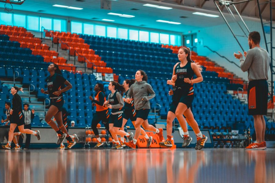 The women's basketball team running drills on Feb. 29, 2020. They finished 13-17 last season and look to improve this time around. Photo by Alex Liscio.