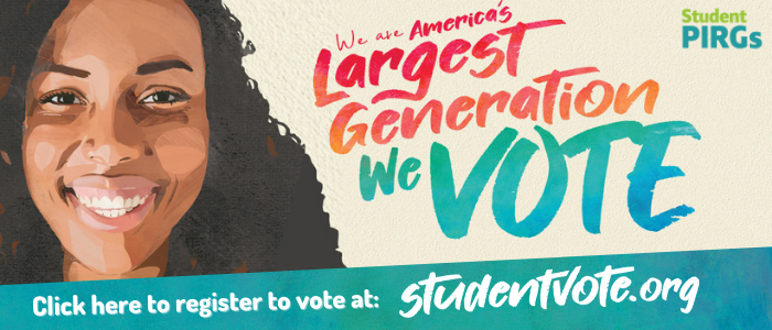 As part of Florida Student Pirgs' New Voter Registration Project, they tell students to visit studentvote.org to register before the Oct. 5 deadline. Image courtesy of Florida Student PIRGS.