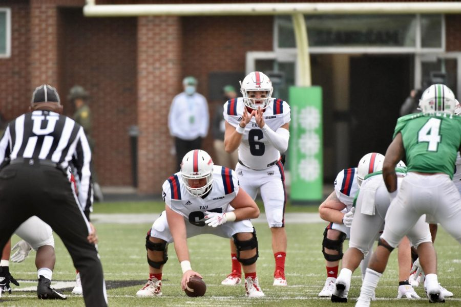 QB Nick Tronti stands in the shotgun against Marshall on October 24th. Photo courtesy of FAU Athletics.