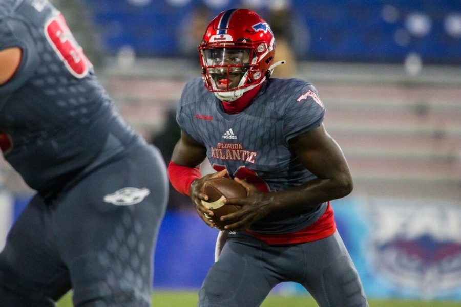 FAU quarterback Javion Posey came into the game in the fourth quarter and still finished as the leading rusher with 60 yards and a touchdown. Photo by Alex Liscio.