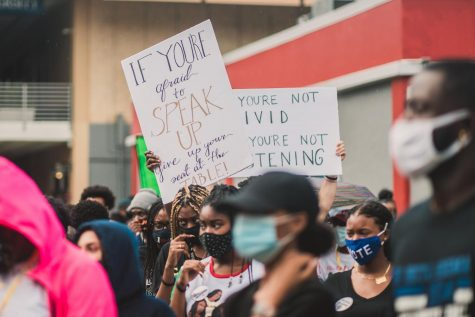 On Sept. 10, 2020, students participated in a protest against racial inequality at Florida Atlantic University in Boca Raton, FL. Student athletes and faculty were involved in the march for equality. Photo by Alex Liscio.