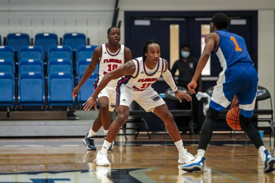 FAU guard Michael Forrest lead the team in scoring against FMU, scoring 15 points while making all of his three shots from deep. Photo courtesy of FAU Athletics.