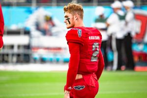 Former FAU quarterback Chris Robison during warmups at FAU Stadium on Nov. 9, 2019. Photo by Alex Liscio.