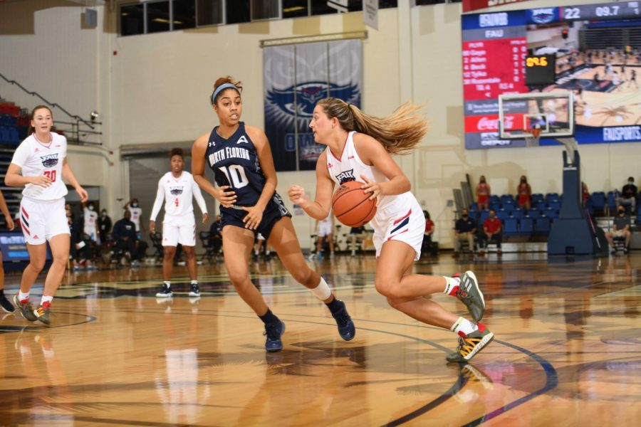Allie Tylka scored a career-high 19 points in the Owls' win over UNF. Photo courtesy of JC Ridley/FAU Athletics.