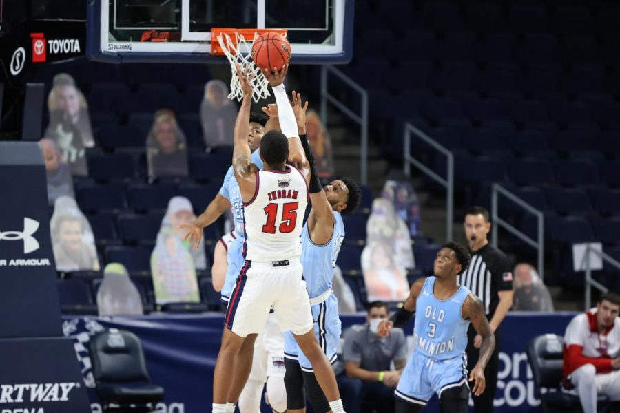 Jailyn Ingram goes up for a shot in FAU's loss to Old Dominion. Photo courtesy of FAU Athletics.