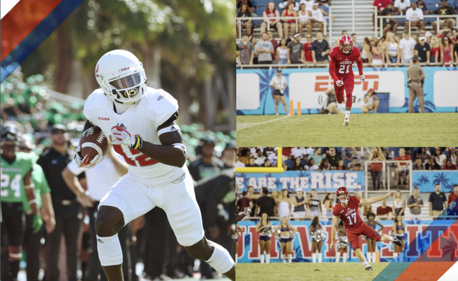 John Franklin III (pictured left), Herb Miller (pictured top-right), and Greg Joseph (pictured bottom-right) are heading to the Super Bowl with the Tampa Bay Buccaneers. Photos courtesy of FAU Athletics. Collage by Michelle Rodriguez Gonzalez.