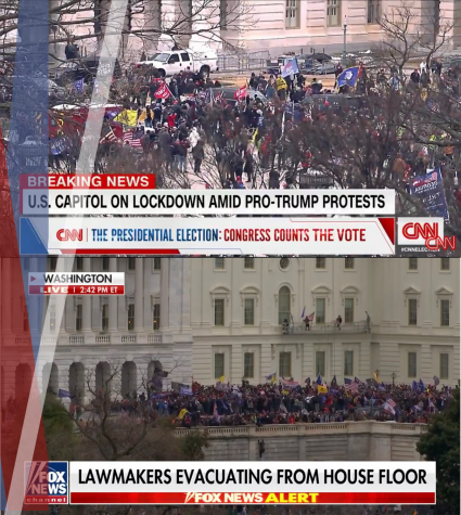 National Media coverage of the US Capitol riots. Screenshots from CNN and Fox News, Collage by Michelle Rodriguez Gonzalez.