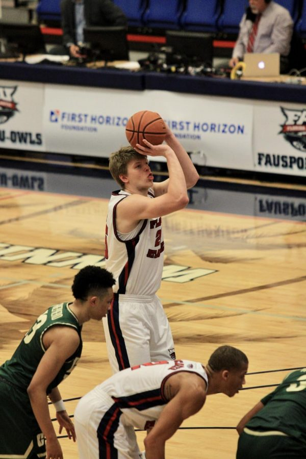 Karlis Silins attempting a free throw during FAU's 66-53 victory over Charlotte on Jan. 22, 2021. Photo by Eston Parker III.