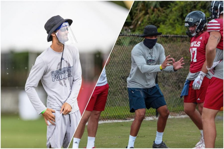 Clint Trickett (left) and Jaron Fairman (right in grey) have been let go of their positions in FAU Football. Photos courtesy of FAU Athletics.
