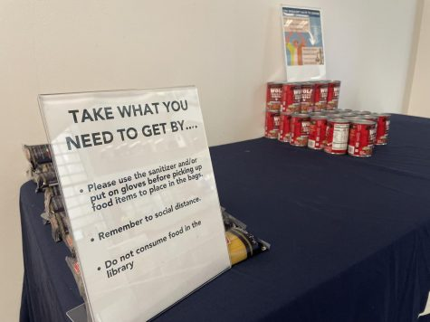 The Beyond Food Program has a bank of food for students to take from in the library. Photo by Colby Guy.