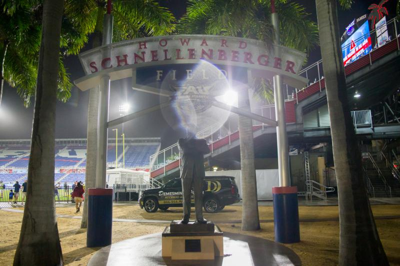 The Howard Schnellenberger Field was named in Schnellenberger's honor back in 2014. Photo by Alex Liscio.