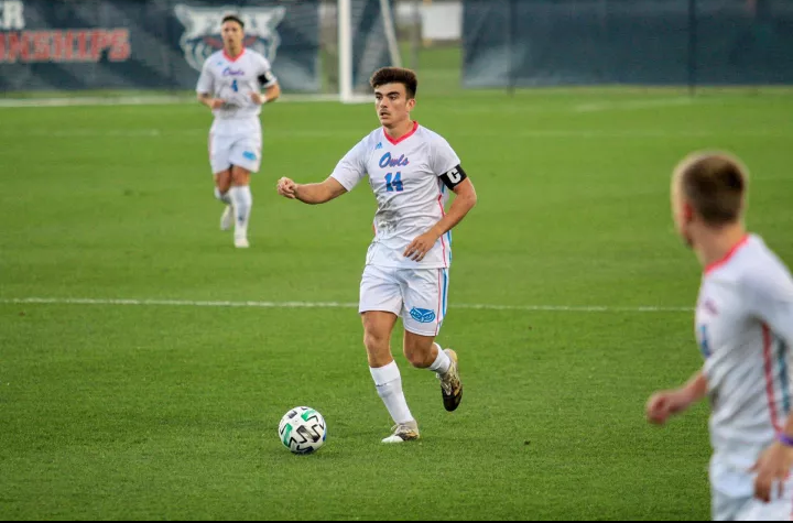 Alonso Coello Camarero (pictured #14) scored a penalty in FAU's dominant win over Jacksonville. Photo by Eston Parker III.