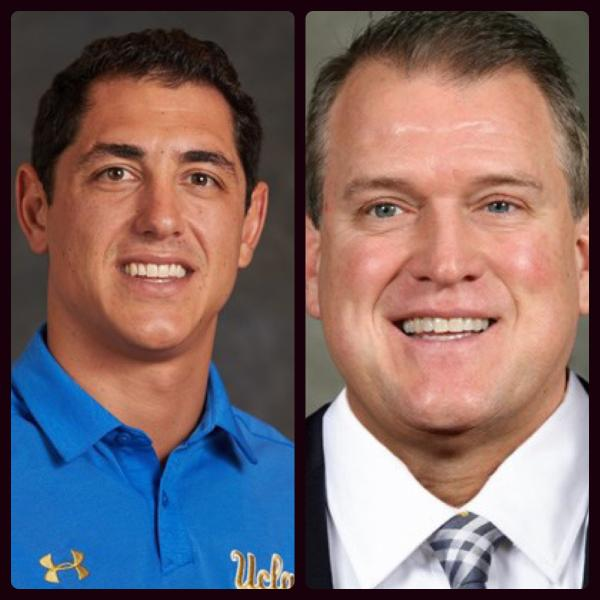 Jon Bills (left) and Ed Warinner (right) will be joining Willie Taggart's coaching staff. Photos courtesy of UCLA Athletics and the University of Michigan Athletics. Collage by Kendall Little.