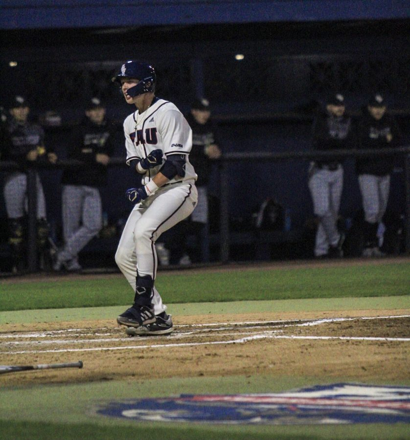 Freshman catcher Caleb Pendleton became the first player in college baseball history to hit two grand slams in his first two at-bats in the same inning in FAU's win over UCF on Saturday, Feb. 20, 2021. Photo by Eston Parker III.