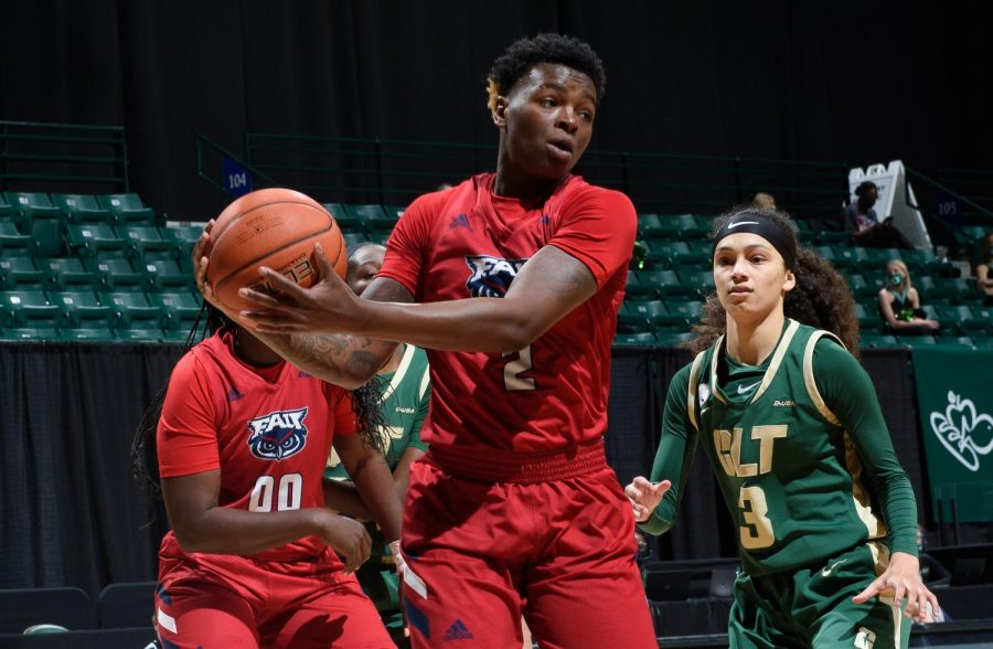 Iggy Allen (pictured #2) achieved her third 30-point, 10-rebound double-double performance of the season in Friday's win over Charlotte. Photo courtesy of Sam Roberts from Charlotte Athletics.