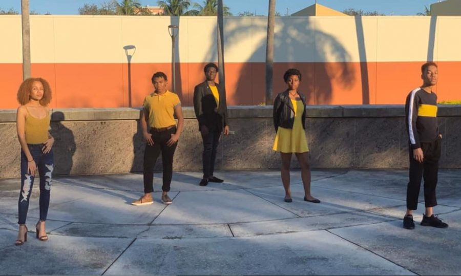 The five founding members of the Black Undergraduate Theatre Collective, (Left to Right) Gabieh Rodrigues, TJ Pursley, Corey Rose, Jayla Thompson, Isaiah Cowan. Photo courtesy of Corey Rose.