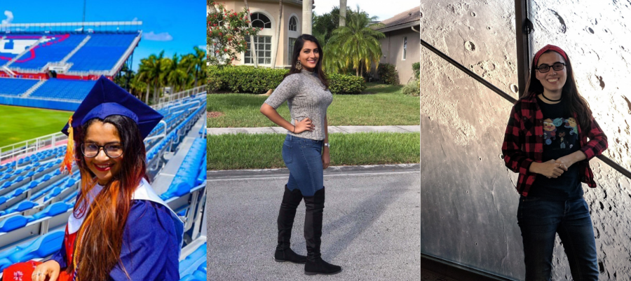 From left to right: Nafisa Shikdar, Sameerah Hingoo, and Alany Jaury. Each photo courtesy of person pictured. Collage made by Michelle Rodriguez Gonzalez.