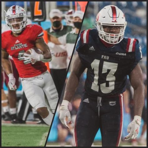 BJ Emmons (left) and Leighton McCarthy (right) signed with the Seattle Seahawks and Tampa Bay Buccaneers as undrafted free agents. Photos by Alex Liscio. Collage by Gillian Manning.