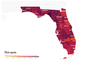 Map of COVID-19 hotspots in the state of Florida. Map courtesy of the New York Times.