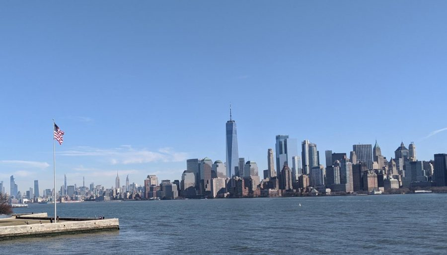 The New York City skyline. The tallest visible building is the 9/11 Memorial & Museum, standing where the World Trade Center once did. Photo by Gillian Manning