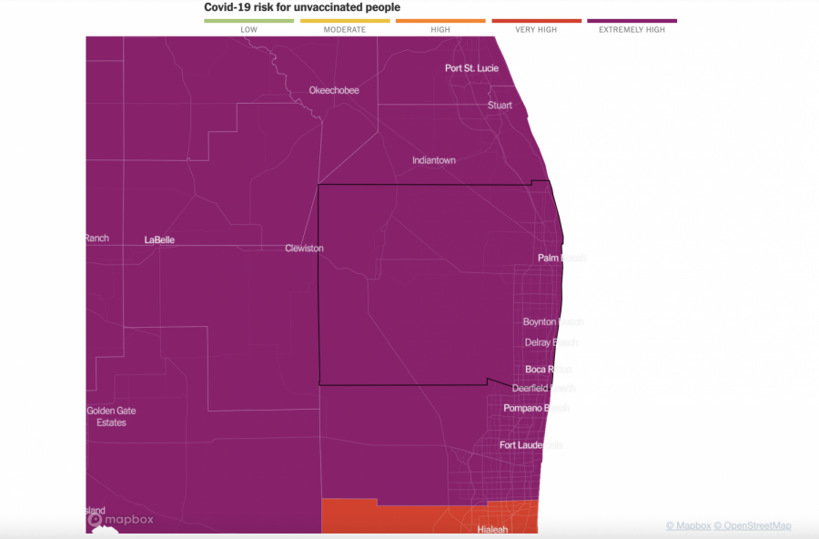 Map of Florida counties from the New York Times. The Times labeled Palm Beach County as an extremely high risk area for unvaccinated individuals.