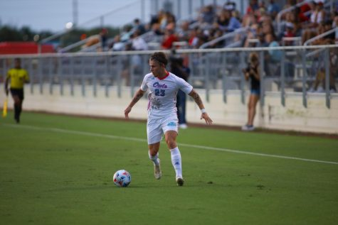 Pontus Steffensen (pictured #23) scored the first goal of his career in the victory over UAB on Oct. 23, 2021.