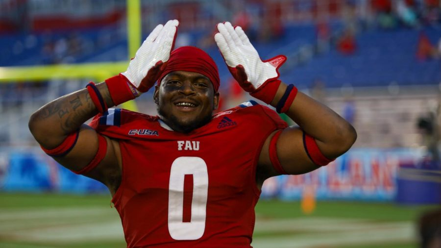 Jaylen Joyner celebrates following FAUs victory over FIU. Joyner finished with one sack against the Panthers.