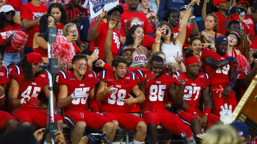The+team+celebrates+winning+their+fifth+consecutive+Shula+Bowl+after+the+58-21+victory+over+FIU+on+Oct.+2%2C+2021.+Photo+by+Eston+Parker+III.