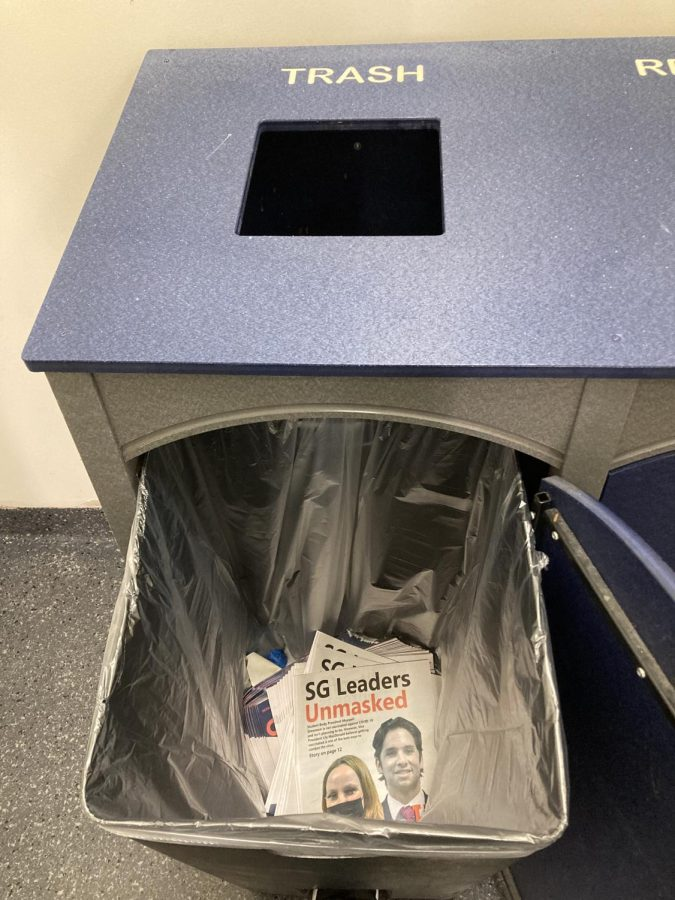 Trash can in the stairwell of the Student Union. Photo by UP staff.