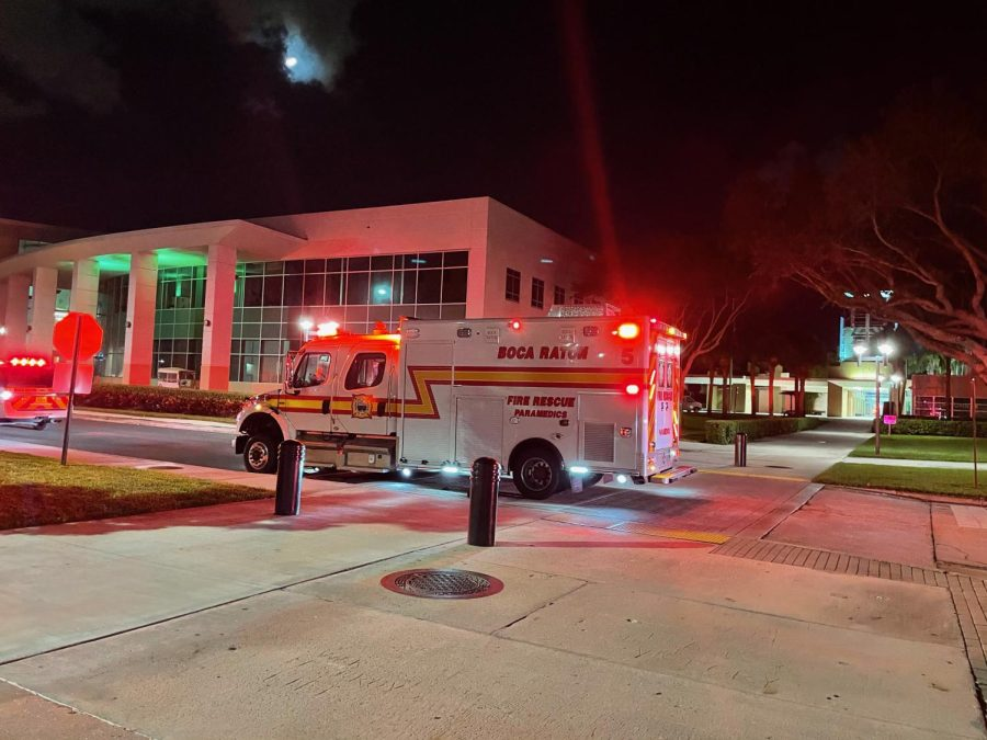 Fire trucks on campus. Photo by Justine Kantor.