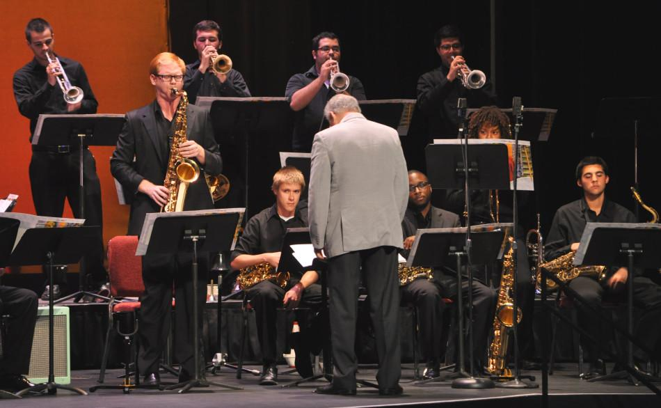 The FAU jazz band was one of eight groups to perform at Wednesdays Fourth annual Band-O-Rama held in the Kaye Auditorium. Photo by Michelle Friswell.