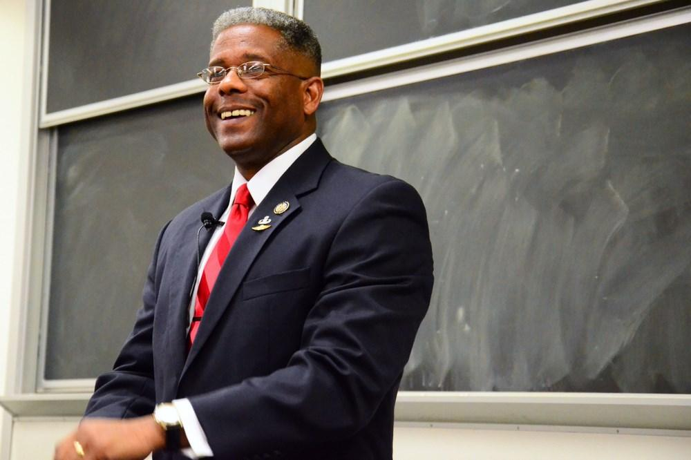Congressman Allen West talked about economic policy and took student questions in the Barry Kaye Hall on November 10. Photo by Christine Capozziello.