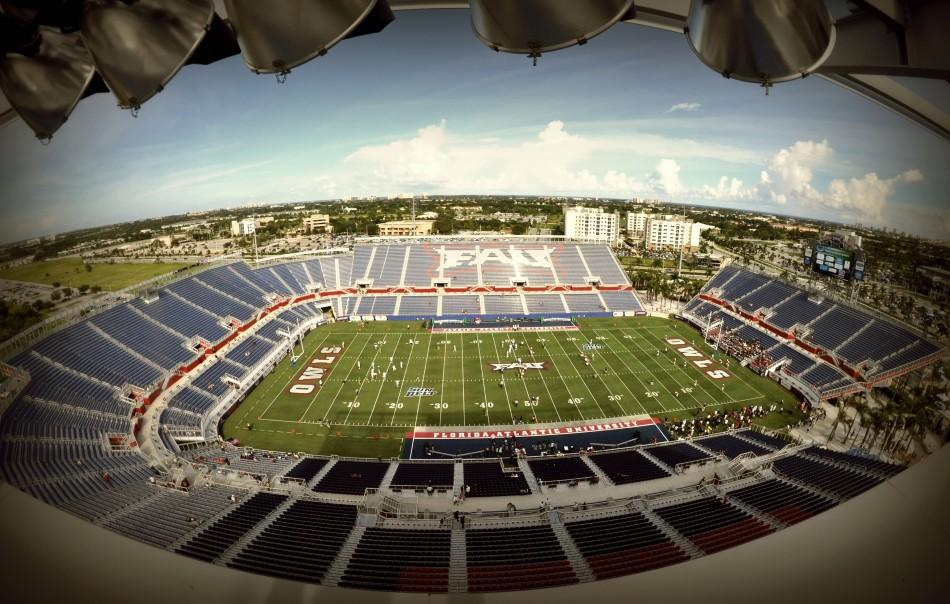 The+FAU+Football+stadium+opened+in+2011.+FAU+still+owes+around+45+million+in+debt+on+the+70+million+dollar+project.+Photo+by+Michelle+Friswell