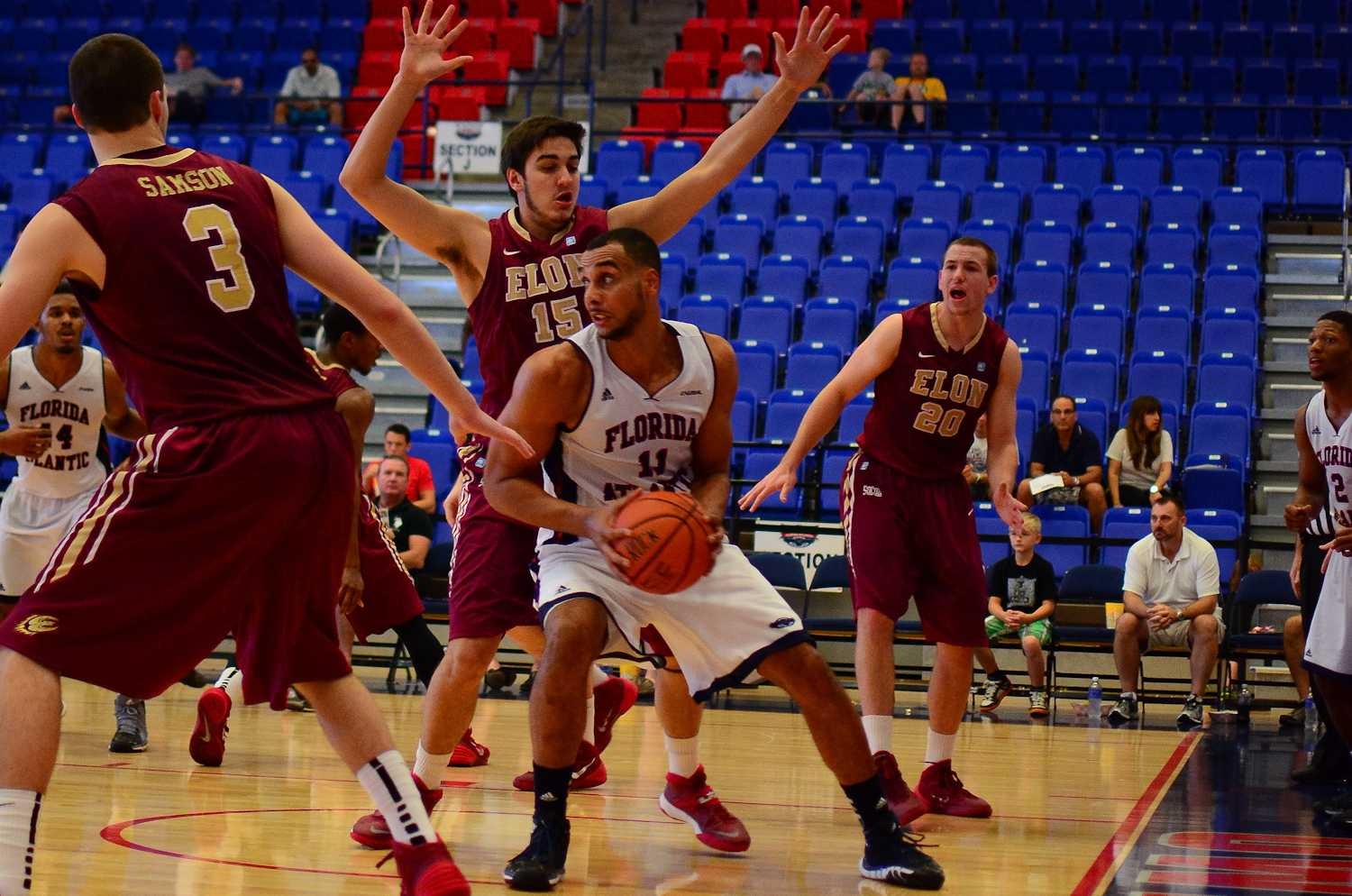 Forward Justin Raffington was one of several Owls who battle foul trouble, but the senior finished with ten points and nine rebounds. Raffington is pictured here during a home versus Elon from the 2013-2014 season. Photo by Max Jackson