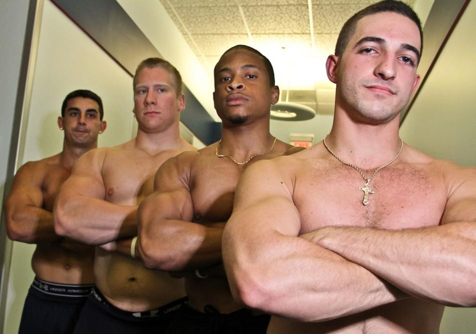 (From Left to Right)  Anthony Napolitano, Davis Diley, Shamir St. Prix and Matt Vaccarella make up Team Swole. Combined, they take in nearly 900 grams of protein per day, which is the equivalent of over  21 6-ounce steaks. Photo by Charles Pratt.