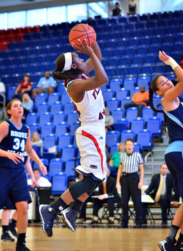 Guard Latavia Dempsey shoots during the first half. Dempsey scored 11 points versus Rhode Island. Photo by Ryan Murphy.