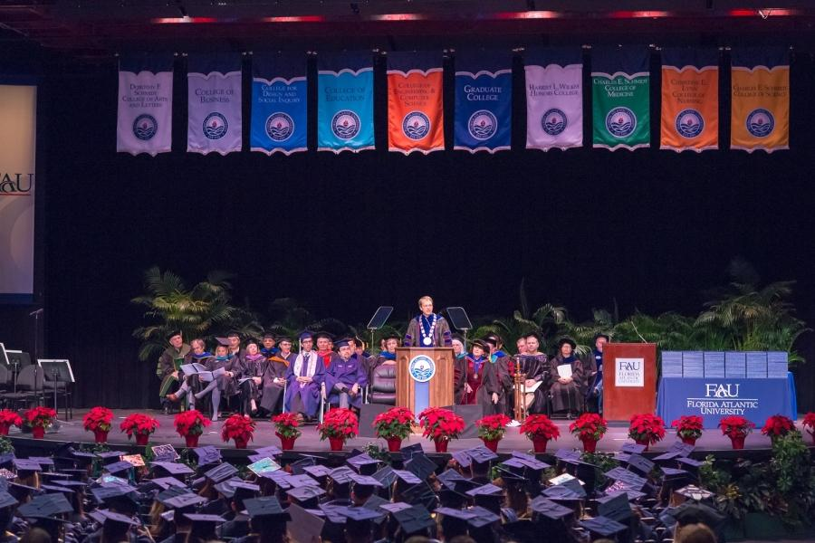 President Kelly speaks to the most recent FAU graduating class in December 2014. Photo by Max Jackson